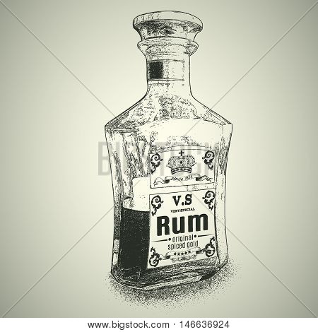 Bottle of Rum.Monochrome vector object. Design for advertising of alcohol drink