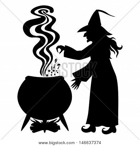 Vector illustrations of Halloween silhouette Witch brews a potion in pot isolated on white background