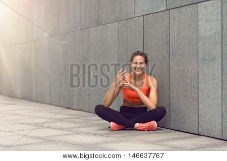 Cute Woman Counting With Fingers While Seated