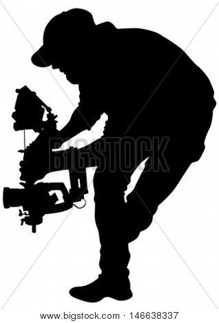 Man with a camera on white background