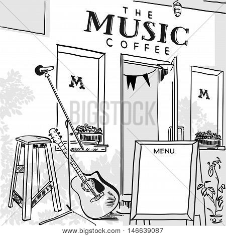 Poster for a music cafe, coffee shop front and a stage for live music with a guitar outdoors. Vector illustration of black and white.