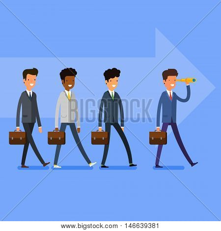 Business concept. Searching for opportunities. People follow the leader. Flat design, vector illustration.