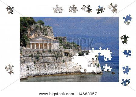 Unfinished puzzle of Corfu Greece over white background