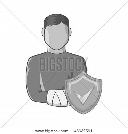 Man with broken arm and shield with tick icon in black monochrome style on a white background vector illustration