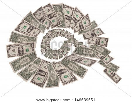 Spiral Falling dollars on white background. business concepts