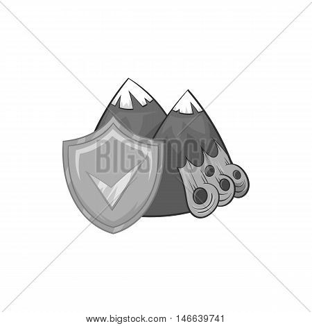 Landslide and yellow shield with tick icon in black monochrome style on a white background vector illustration