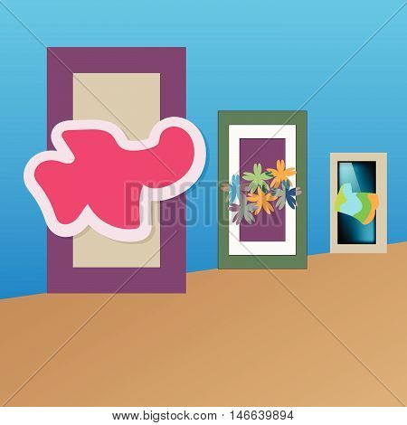 art gallery with paintings of the abstract vector illustration