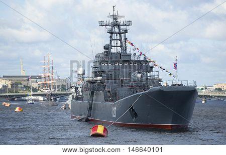 SAINT PETERSBURG, RUSSIA - JULY 25, 2015: Large landing ship