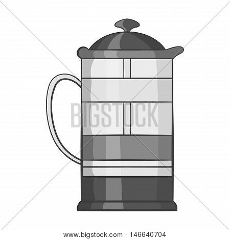 French press coffee maker icon in black monochrome style on a white background vector illustration