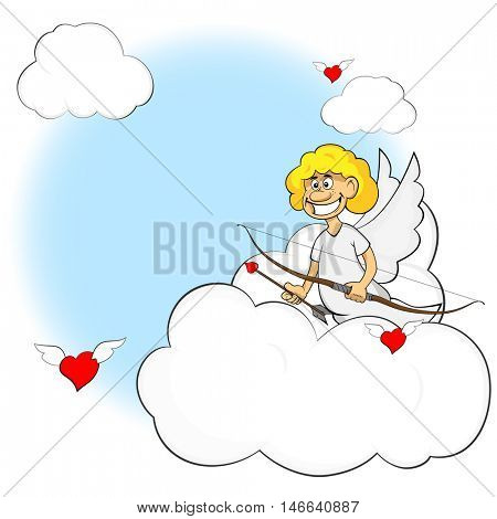 Funny cartoon cupid. Illustration cartoon of cute cupid with bow and arrow. Illustration of a Valentine's Day.