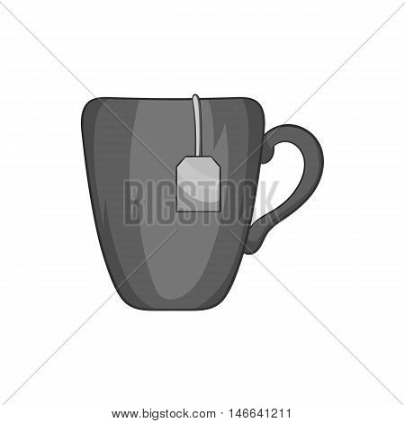Ceramic mug with teabag label icon in black monochrome style on a white background vector illustration