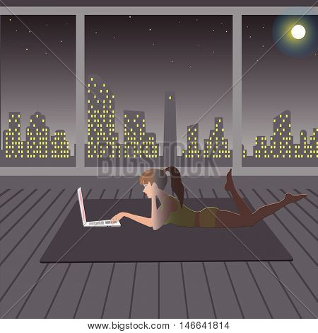 girl playing in the evening after a workout on the Internet vector illustration