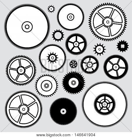 vector collection of black and white clock gears