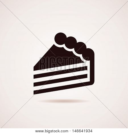 vector black and white icon of cake slice