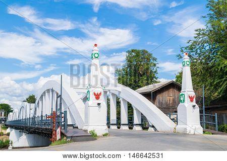 Ratsadaphisek Bridge, The Old Concrete Bridge Across Wang River In Lampang, Thailand