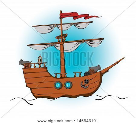 Stylized wooden ship with cannons. Vector colorful clipart. Picture for coloring book.