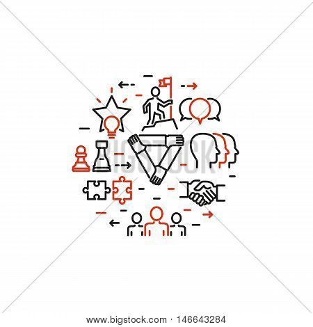 Vector thin line design of business people teamwork team development growth striving for success corporate culture and team building Modern vector illustration concept isolated on white background