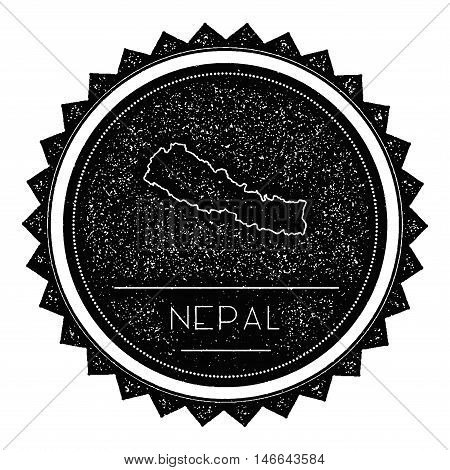 Nepal Map Label With Retro Vintage Styled Design. Hipster Grungy Nepal Map Insignia Vector Illustrat