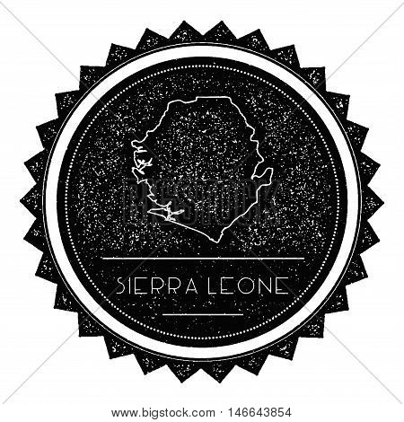 Sierra Leone Map Label With Retro Vintage Styled Design. Hipster Grungy Sierra Leone Map Insignia Ve