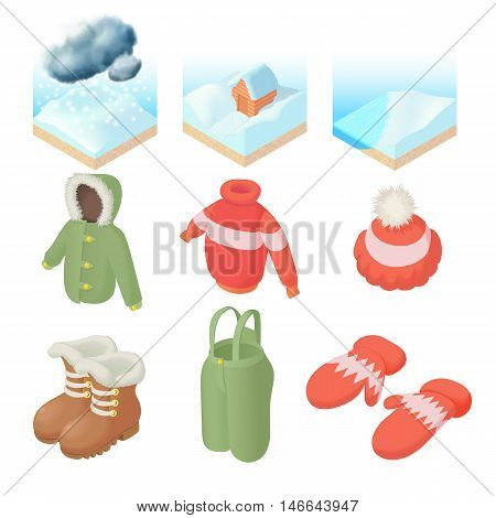 Winter icons set in cartoon style. Winter clothes and weather set collection vector illustration