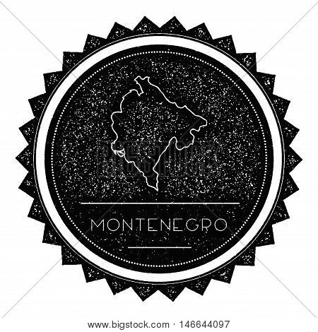 Montenegro Map Label With Retro Vintage Styled Design. Hipster Grungy Montenegro Map Insignia Vector