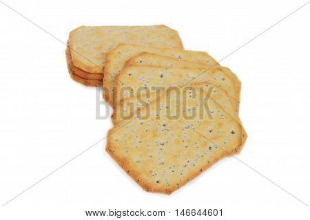 closeup multi grain crackers on a white background