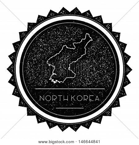Korea, Democratic People's Republic Of Map Label With Retro Vintage Styled Design. Hipster Grungy Ko