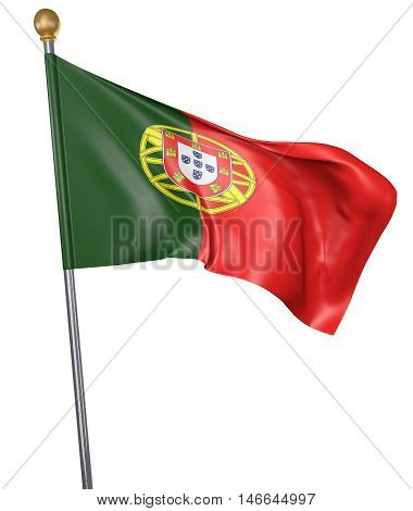 National flag for country of Portugal isolated on white background, 3D rendering