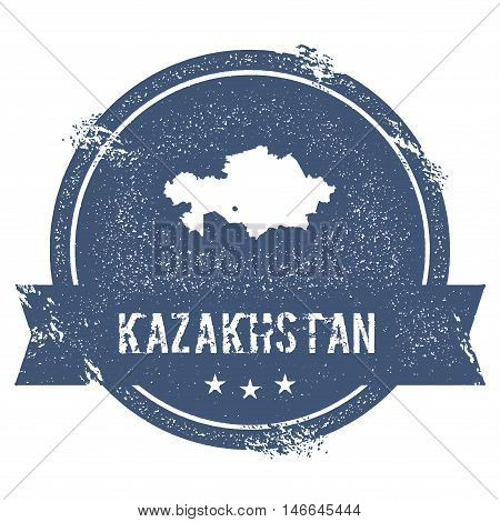 Kazakhstan Mark. Travel Rubber Stamp With The Name And Map Of Kazakhstan, Vector Illustration. Can B