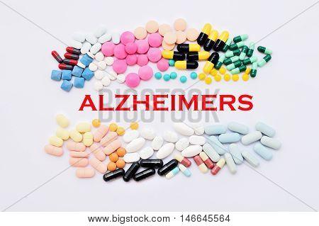 Drugs for Alzheimer's disease treatment, medical concept