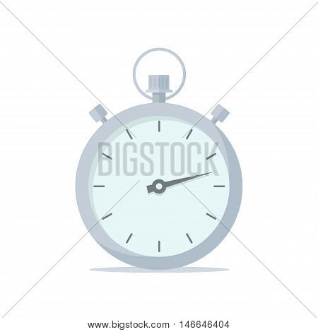 Stopwatch isolated vector icon in a flat style. Symbol rate speed or racing. Mechanical sports chrome stopwatch.