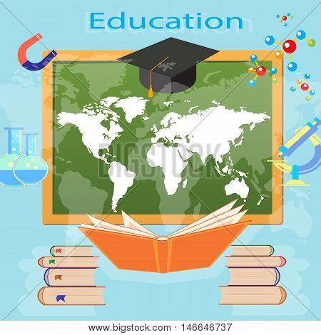 the process of education in a school or university vector illustration