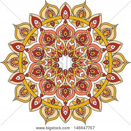 Vector ornate mandala illustration. Decorative orange mandala drawing