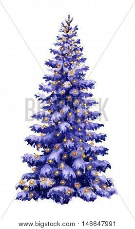 Hand drawn watercolor illustration. Christmas tree with lighted garland isolated on white. Snow Fir tree decorated with lights. Winter holiday symbol. Spruce view at dusk. Element New Year decoration.