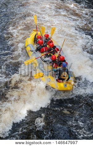 BALA GWYNEDD, WALES - SEPTEMBER 10, 2016: White water rafting at the National White Water Centre on the River Tryweryn outside Bala North Wales.