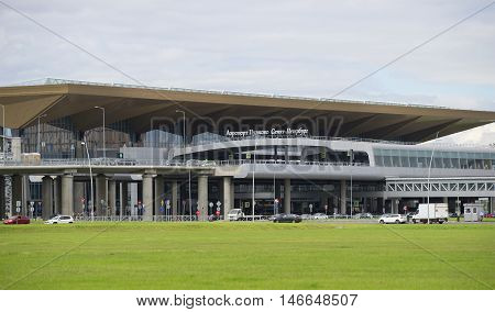 SAINT PETERSBURG, RUSSIA - JULY 27, 2015: At the new terminal of Pulkovo airport. Tourist landmark of the city Saint Petersburg