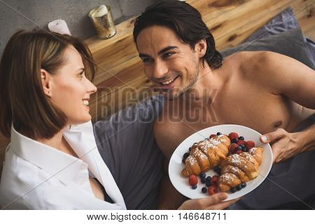 close up of breakfast in a bed, concept of honeymoon, valentine day