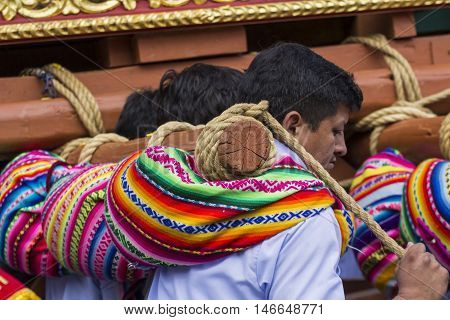Cusco - Peru - June 06, 2016 : The Unknown Peruvian People Participating In A Religious Holiday In C