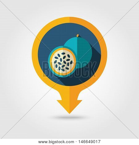 Passionfruit flat vector pin map icon. Map pointer. Map markers. Tropical fruit. Vector illustration eps 10
