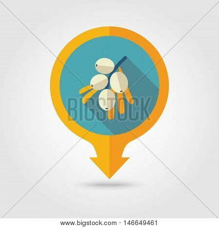 Branch of sea-buckthorn berries flat vector pin map icon. Map pointer. Map markers. Berry fruit. Vector illustration eps 10