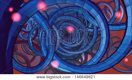 Abstract spiral wire background with technology or sci fi conceptual on blue and red tone
