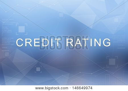 Credit rating word on blue blurred and polygon background