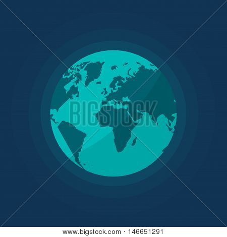 Earth globe isolated vector illustration, flat cartoon earth from space, abstract earth planet on dark background