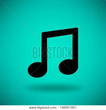 Musical note icon. Flat vector illustration