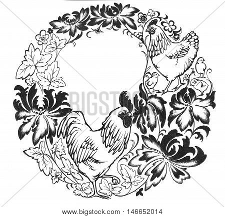 Decorative wreath with cockerel, chicken, chicken youngling, and ukrainian folk flowers.