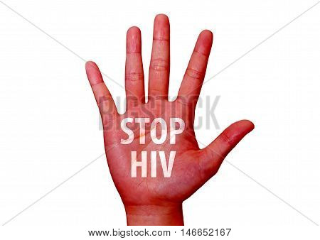 isolated stop hiv written on woman hand