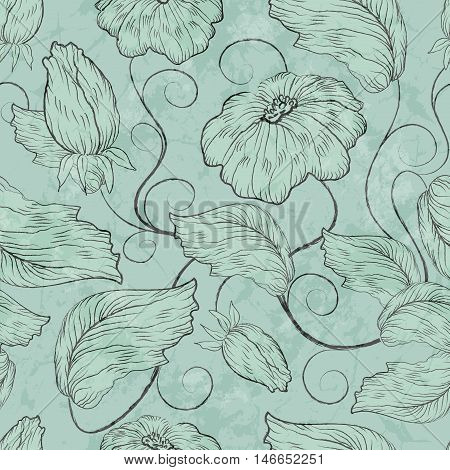 Floral Seamless Blue Grunge Pattern With Flowers And Leaves
