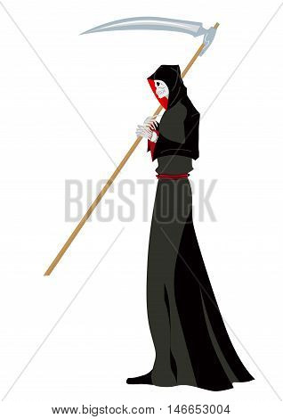 Vector illustration for holiday halloween angel of death with a scythe in his hands on white background.