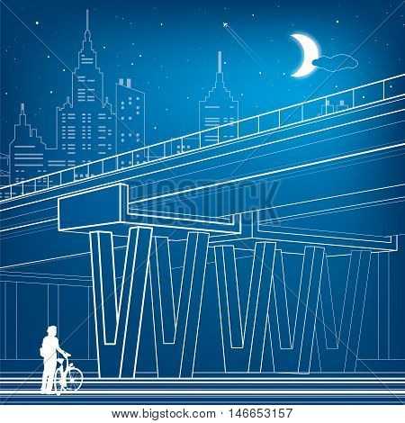 Flyover, architectural and infrastructure illustration, transport overpass, highway, white lines urban scene, cyclist, night city on background, vector design art