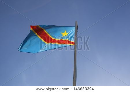 National Flag Of Congo On A Flagpole